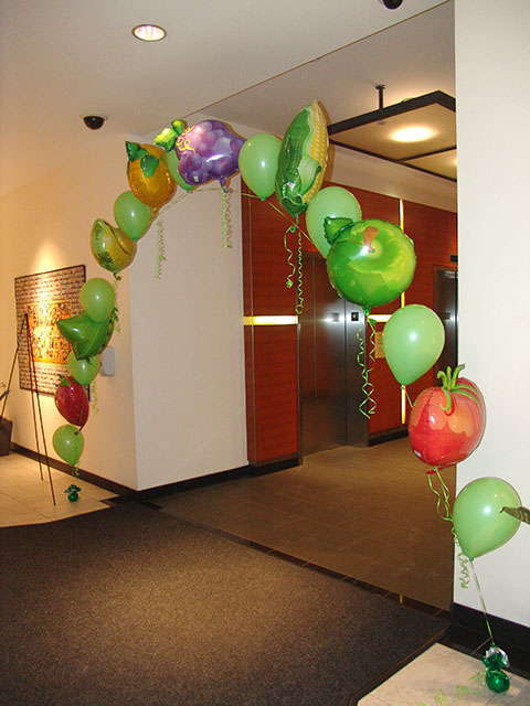 fruit and vegetables balloon arch denver