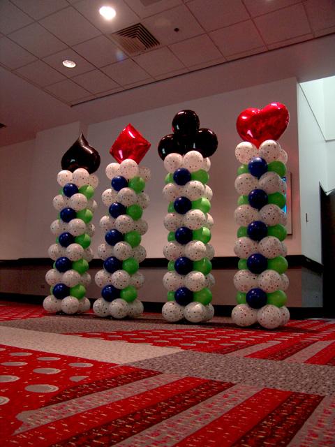 lucky card playing balloon columns