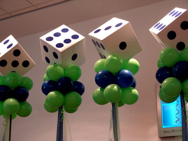super lucky dice balloon columns